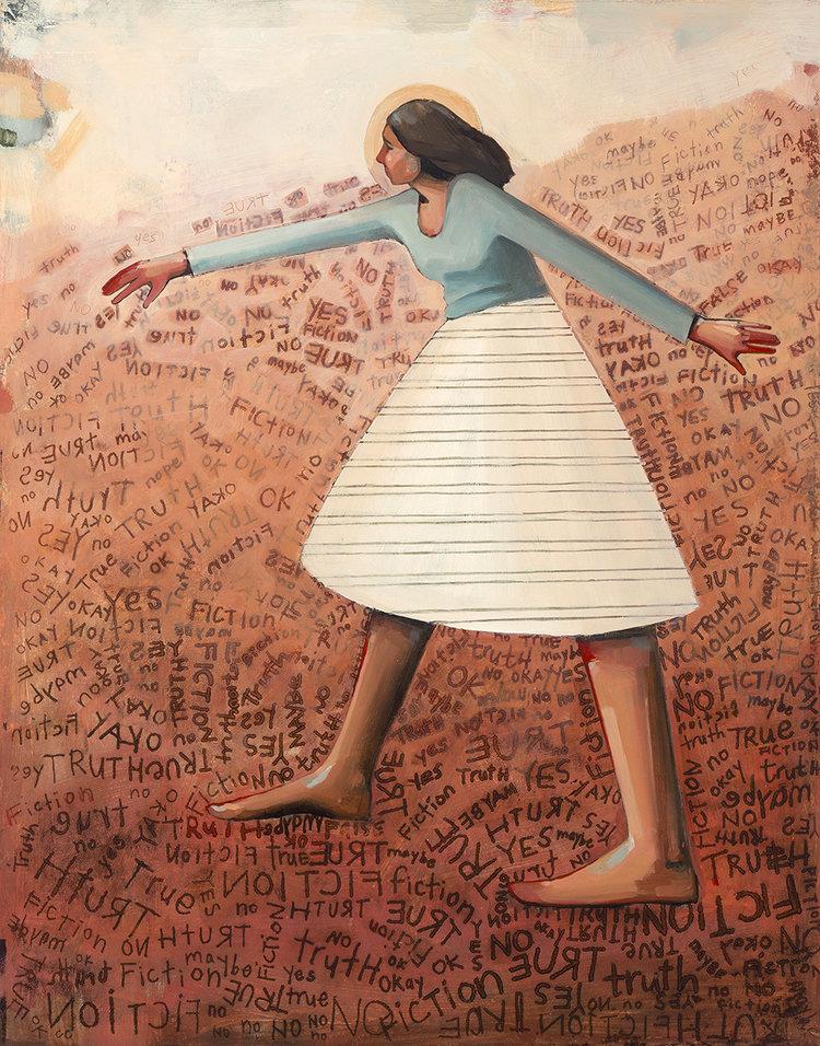 'Sorting through Truth and Fiction', oljemaleri av Caitlin Connolly