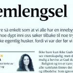 Publisert i Vårt Land 28. mai