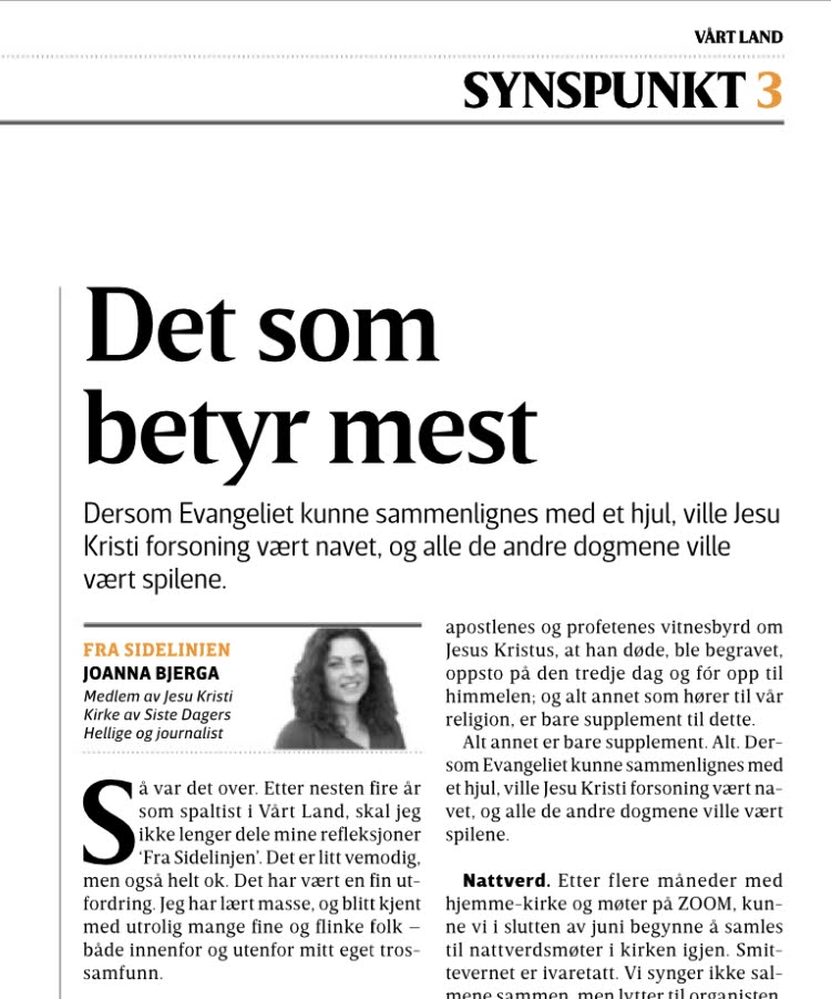 bilde av spalten i avisen